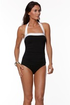 Lauren Ralph Lauren LAUREN by Ralph Lauren Bel Aire Solid Shirred Bandeau Mio Slimming Fit (Black) Women's Swimsuits One Piece