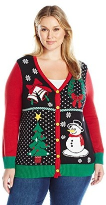 Ugly Christmas Sweater Company Women's Size 4 Panel Button Cardigan Plus