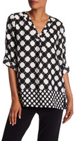 Chaus Checker Dot Split Neck Blouse