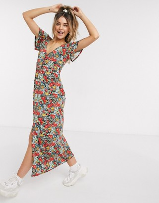 Asos Design DESIGN jersey crepe maxi tea dress with self covered buttons