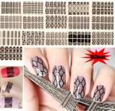 Lookathot 16 Sheets Nail Art Stickers Decals Full Finger Black Lace 3D Design DIY Decoration Tools