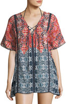 Gypsy 05 Printed Gauze Lace-Up Caftan Coverup