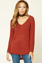 Forever 21 FOREVER 21+ Ribbed Knit V-Neck Sweater