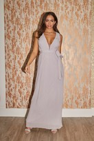 Thumbnail for your product : Little Mistress Bridesmaid Kellie Grey Plunge Pleated Maxi Dress