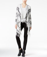 Almost Famous Juniors' Striped Fringe Waterfall Cardigan