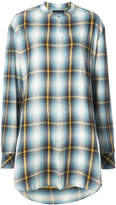 Baja East plaid collarless shirt