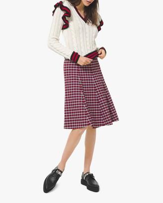 Michael Kors Corallina Striped-Ruffle Cashmere Pullover