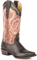 Stetson Brown Oiled Python Vamp Leather Cowboy Boot