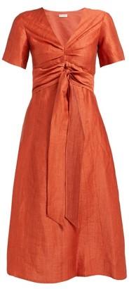 Masscob Regina Tie-waist Linen-blend Dress - Womens - Orange