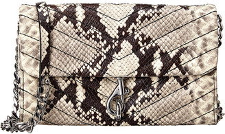 Rebecca Minkoff Edie Snake-Embossed Leather Wallet On Chain