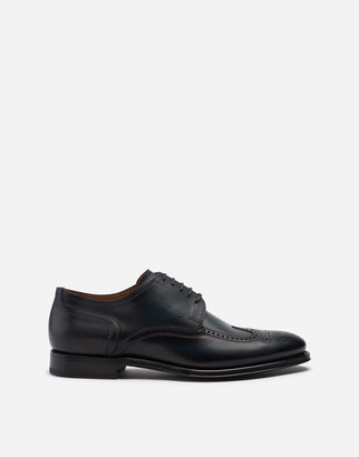 Dolce & Gabbana Brogue Derby In Giotto Paint Calfskin