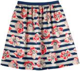 Cath Kidston Large Anemone Stripe Elasticated Waist Skirt