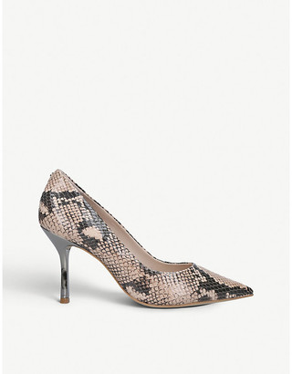 Carvela Achievement snake-print leather court shoes