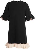 Marni Ruffled Scuba-jersey Mini Dress - Black