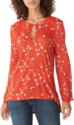 Lucky Brand Floral Keyhole Blouse