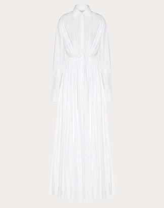 Valentino Technical Poplin Evening Dress Women White Cotton 75%, Elastane 25% 36