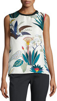 Tory Burch Amalie Sleeveless Floral-Print Silk Shell, New Ivory Utopia