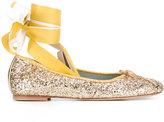 Chiara Ferragni lace-up ballerinas - women - Leather/PVC/Metallic Fibre - 35