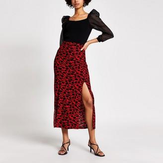 River Island Red floral split leg midi skirt