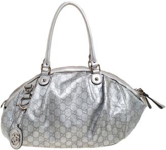 Gucci Metallic Silver Guccissima Leather Medium Sukey Boston Bag