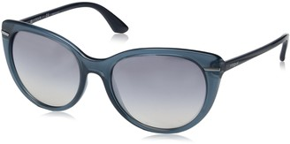Vogue Women's Light and Shine Collection Non-Polarized Iridium Cateye Sunglasses Opal Blue 56 mm