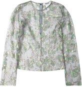 MSGM floral motif mesh blouse