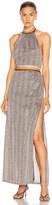 Jonathan Simkhai Metallic Halter Maxi Dress in Tangerine Stripe | FWRD