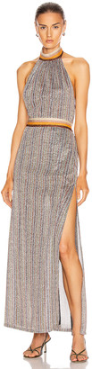 Jonathan Simkhai Metallic Halter Maxi Dress in Tangerine Stripe | FWRD