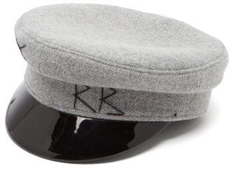 Ruslan Baginskiy Vinyl Peak Wool Baker Boy Hat - Womens - Grey