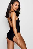 Boohoo Petite Natalia Scoop Back Swimsuit black