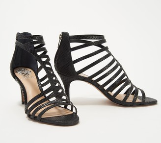 Vince Camuto Leather Cut-Out Heeled Sandals Petronia
