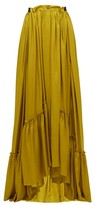 Ann Demeulemeester Nanette Ruffled Satin Maxi Skirt - Womens - Dark Yellow