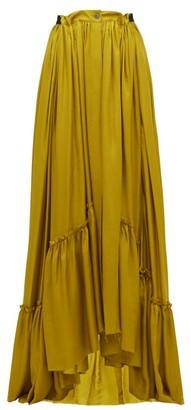 Ann Demeulemeester Nanette Ruffled Satin Maxi Skirt - Womens - Dark Yellow