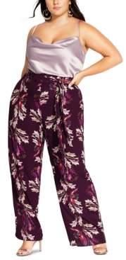 City Chic Trendy Plus Size Floral-Print Wide-Leg Pants