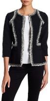 Oscar de la Renta 3/4 Length Sleeve Boucle Trimmed Jacket