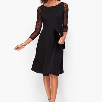 Talbots Dot Mesh & Ponte Fit & Flare Dress