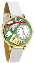 Whimsical Watches Women's G0620032 Unisex Gold Dental Assistant White Leather And Goldtone Watch
