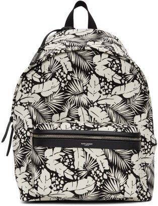 Saint Laurent Black and White Printed City Backpack