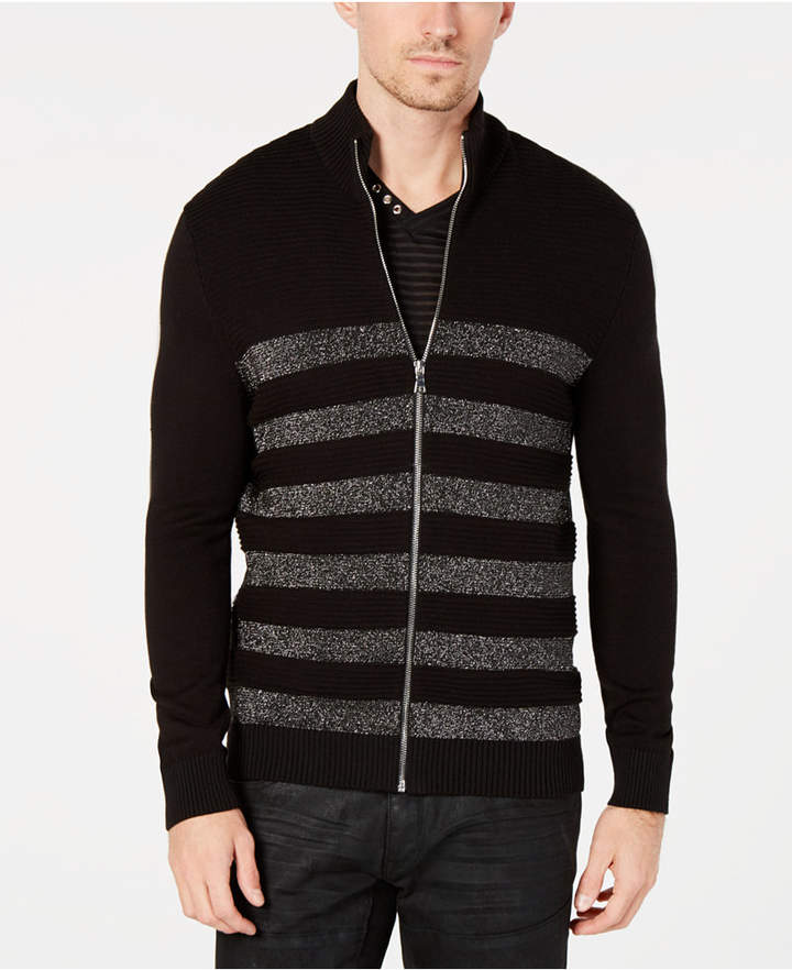 INC International Concepts I.N.C. Men's Lurex Striped Zip-Front Sweater, Created for Macy's