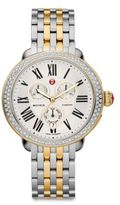 Michele Serein 18 Diamond, 18K Goldplated & Stainless Steel Chronograph Bracelet Watch