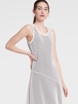DKNY Women's Sleeveless Mesh Dress - Ivory - Size XS