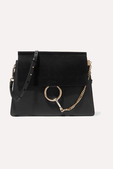 Chloé Faye Medium Leather And Suede Shoulder Bag - Black