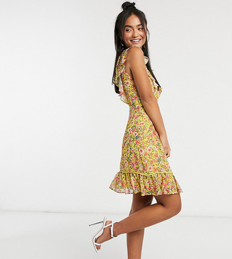 Dark Pink plunge mini dress with lace insert in yellow floral