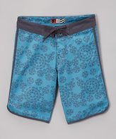 Micros Teal Messy Board Shorts - Boys