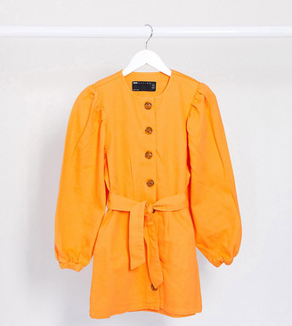 ASOS DESIGN Petite denim orange puff sleeve belted dress