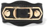Balenciaga Metallic Edge Textured-leather And Gold-tone Bracelet - Black
