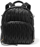 Miu Miu Matelassé Leather Backpack - Black