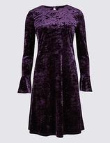 M&S Collection Velvet Long Sleeve Skater Midi Dress