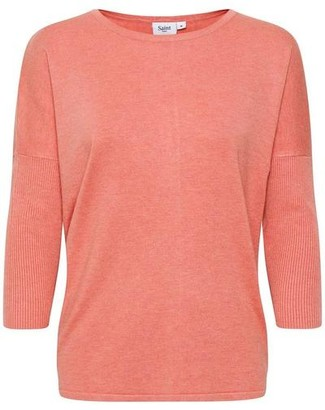 Saint Tropez Knit Sweater With Ribbed Sleeves Terracotta - XS / Terracotta