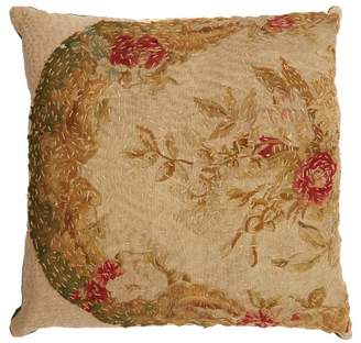 By Walid Embroidered Tapestry Linen Cushion - Green Multi